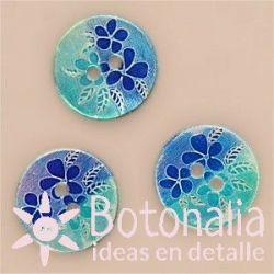 Flores y hojas en azul - 15 mm