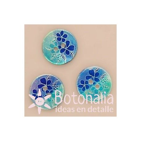 Flowers and leaves in blue - 15 mm