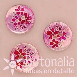 Flores y hojas en rosa - 15 mm