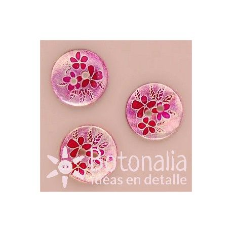 Flowers and leaves in pink - 15 mm