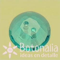Transparent faceted button in blue color 15 mm