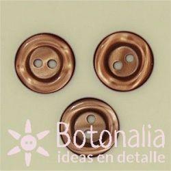 Round button - marbled 14 mm in brown