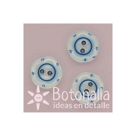 Circular con flor azul 15 mm
