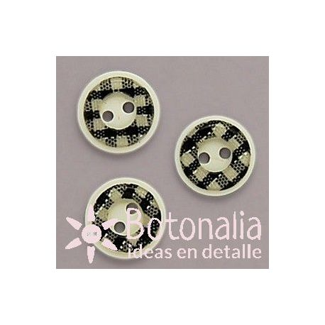 Round classic button with a thick edge with gingham print in black 13 mm