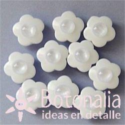 10 botones flor blanca 10 mm