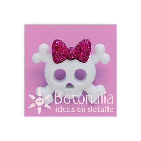 Skull with pink ribbon 28 mm