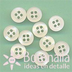 10 botones color marfil 9 mm
