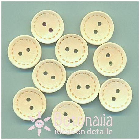10 wooden buttons with stitch decoration 15 mm