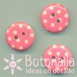 Pink polka dots 15 mm