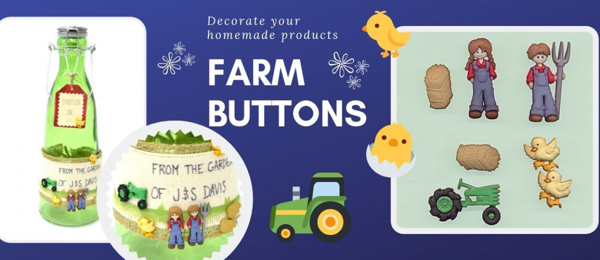 Pack of buttons with a farm theme